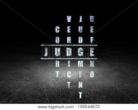 Law concept: Judge in Crossword Puzzle