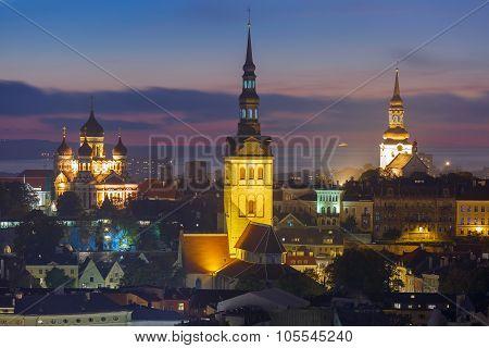 Night aerial view of old town, Tallinn, Estonia