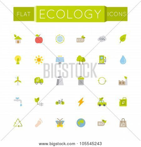 Vector Flat Ecology Icons