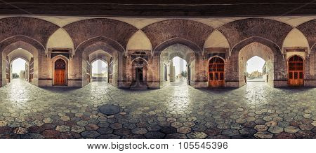 Part of the spherical panorama inside of the ancient building in the city of Bukhara, Uzbekistan