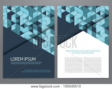 Vector brochure, annual report, flyer, magazine template. Modern blue geometric flat design.