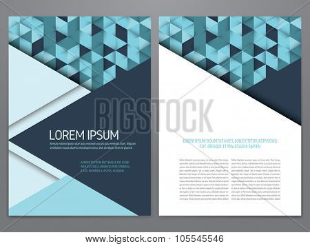 Vector brochure, annual report, flyer, magazine template. Modern blue geometric flat design.