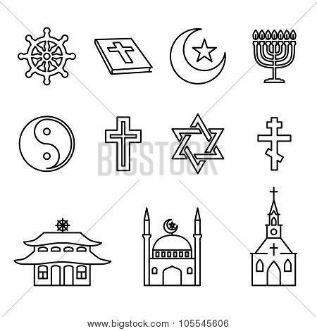 Religion line icons vector set