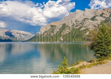 Majestic mountain lake in Canada. Two Jacks Lake in Banff, Canada.