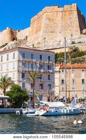 Vertical Cityscape Of Bonifacio, Corsica Island