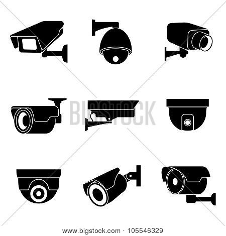 Security surveillance camera, CCTV vector icons set