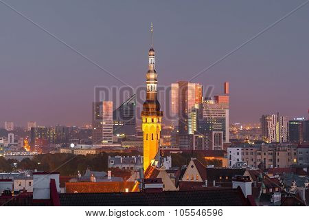 Night aerial cityscape of Tallinn, Estonia