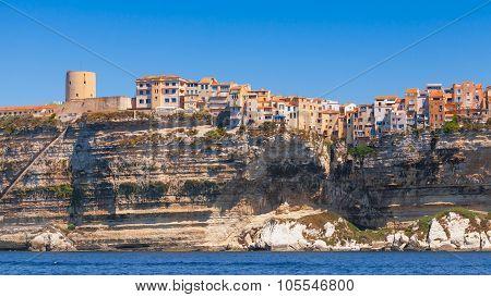Houses And Fortress On Coast. Bonifacio, Corsica