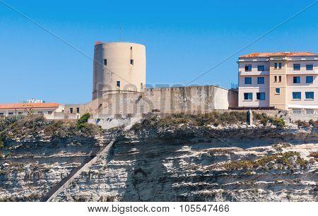 Old Fort Tower On The Rocky Coast. Bonifacio
