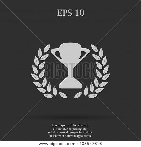 Trophy and awards icon . Flat design style. Vector illustration.