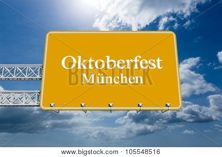 Oktoberfest munchen against blue sky