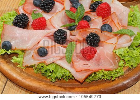 Ham Plate, Ham, Fruit, Raspberries, Blueberries, Blackberries, Lettuce