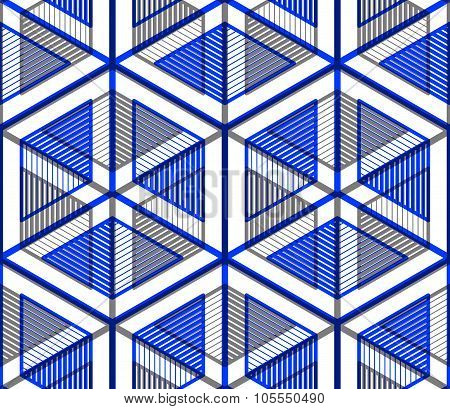 Bright Symmetric Seamless Pattern With Interweave Figures. Continuous Geometric Composition