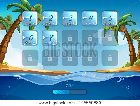 Island game background with user interface UI in cartoon style