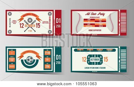 Football, soccer and Baseball ticket vector design template