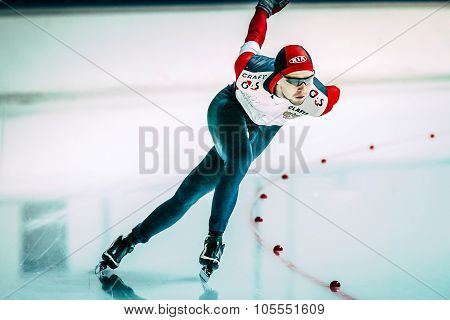 male skater runs distance of 500 meters