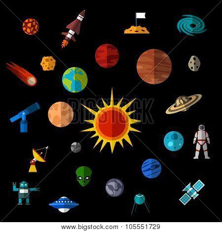 Space icons. Space icons set. Space icons flat. Space icons vector. Space icons illustration. Space flat icons. Space signs. Space symbols. Space objects