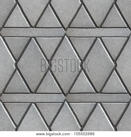 Gray Paving Slabs Built of Rhombuses and Rectangles.