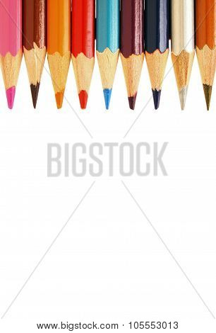Abstract background from color pencils isolated on white background closeup