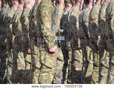 Royal Anglian Regiment on Parade.