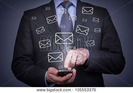 Man Mail Sending with Smartphone