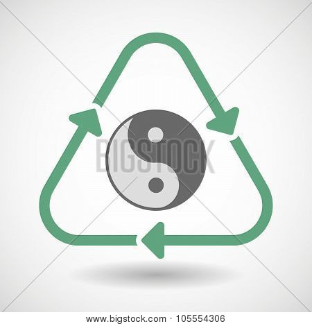 Line Art Recycle Sign Icon With A Ying Yang