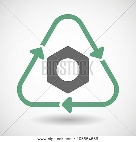 Line Art Recycle Sign Icon With A Nut