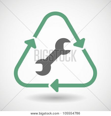 Line Art Recycle Sign Icon With A Wrench