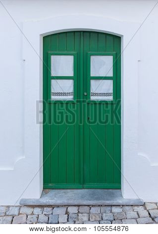 Portuguese Traditional Wooden Doors. Old House.