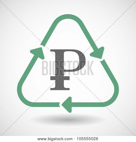 Line Art Recycle Sign Icon With A Ruble Sign