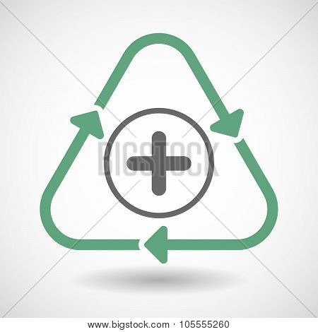 Line Art Recycle Sign Icon With A Sum Sign