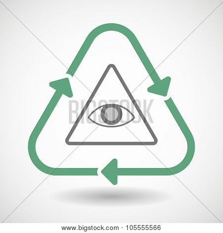Line Art Recycle Sign Icon With An All Seeing Eye
