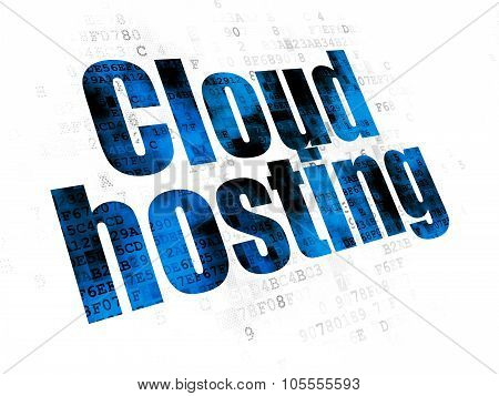 Cloud computing concept: Cloud Hosting on Digital background