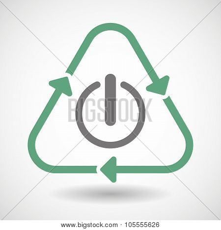 Line Art Recycle Sign Icon With An Off Button
