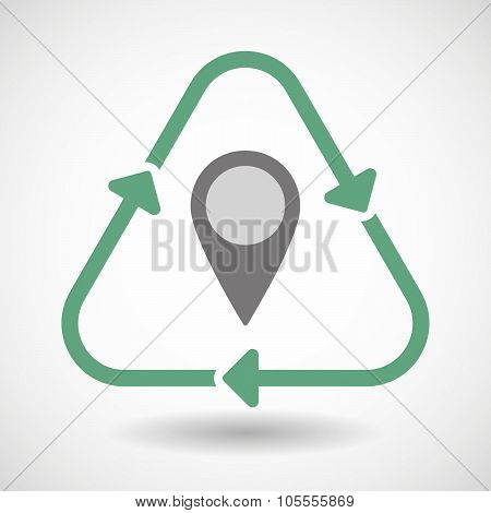 Line Art Recycle Sign Icon With A Map Mark