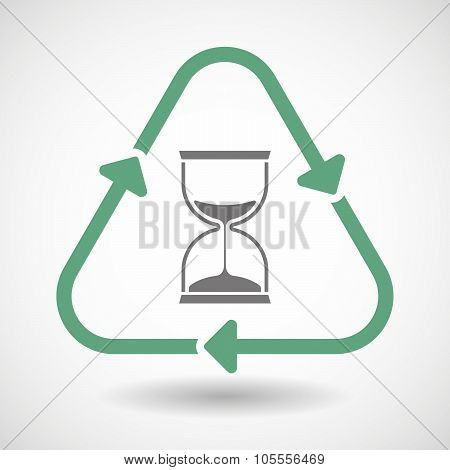 Line Art Recycle Sign Icon With A Sand Clock
