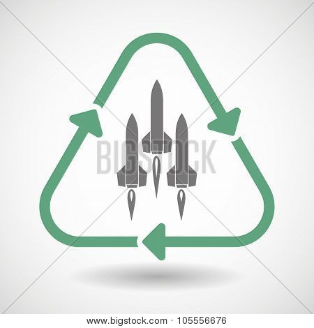 Line Art Recycle Sign Icon With Missiles