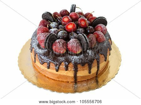 Delicious Cake With Strawberries And Chocolate Biscuits. Close-up.