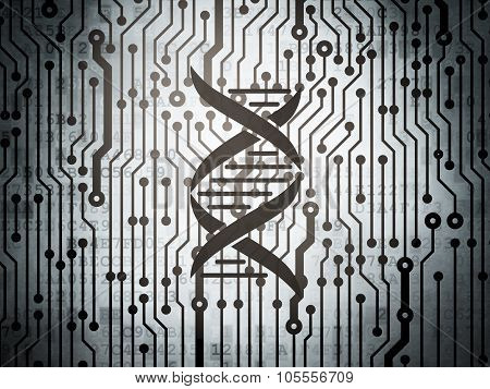 Science concept: circuit board with DNA
