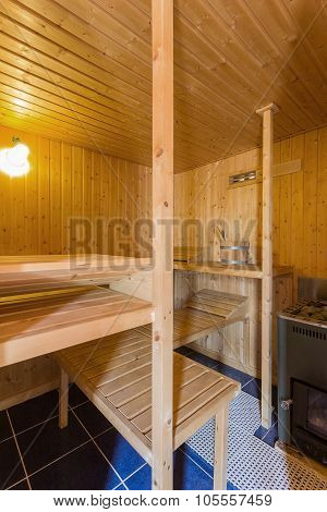 Elegant Wooden Domestic Sauna Sauna With A Stove. For Health And Hygiene