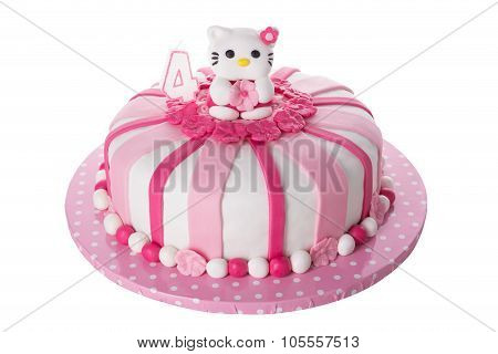 Wonderful Decorative Cake For Children. With Doll Cat. On A White Background.