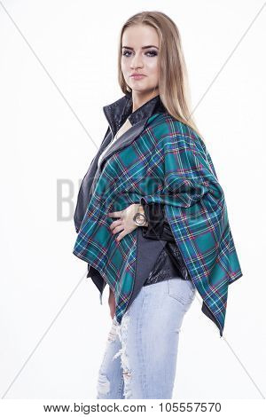 Portrait of beautiful young adult attractive sexy and sensuality happy smiling pretty blonde woman autumn fashion dressed, Isolated on white background