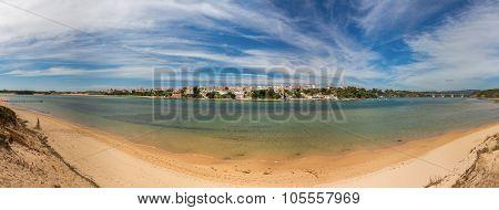 Large Panorama Of Portuguese Maritime Village Milfontes. Alentejo Area Odemira.