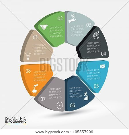 Vector isometric circle element for infographic.