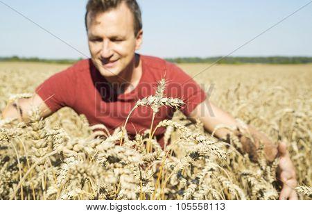 Man Farmer In Rye Field