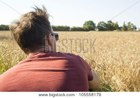 Man Farmer Behind Near In Rye Field