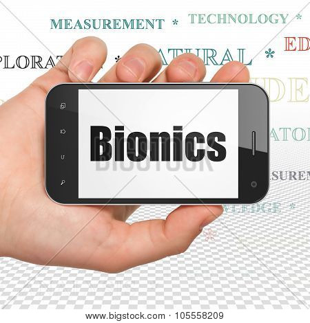 Science concept: Hand Holding Smartphone with Bionics on display