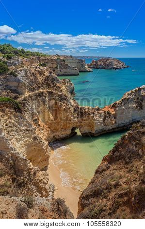 Magic Seascapes Albufeira. In Summer, The Clear Waters. Portugal Algarve Area.