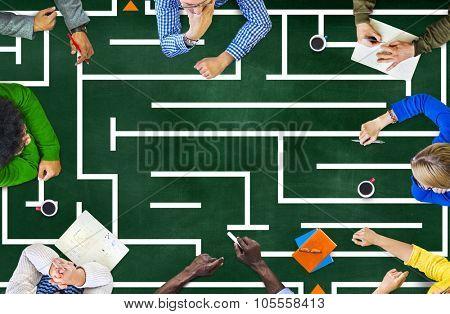 Teamwork Solve Problems Brainstorm Meeting Planning Finding Solutions Maze Concept
