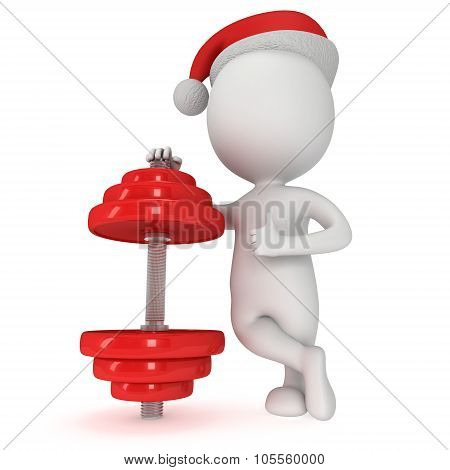 3D White Santa Claus And Red Dumbbell
